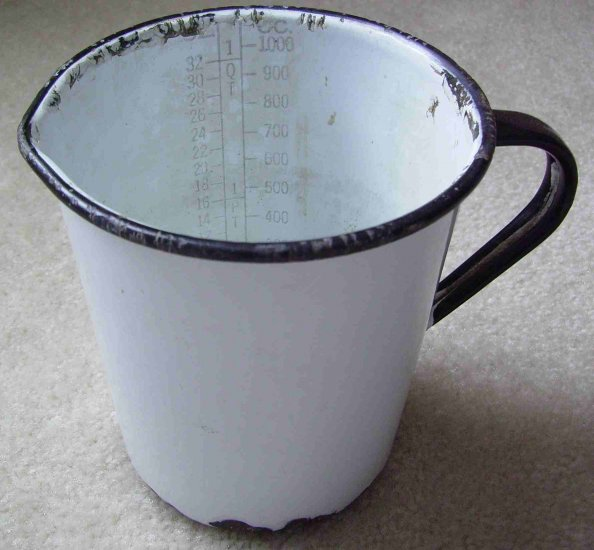 Antique 19C French Enamelware Measuring Cup