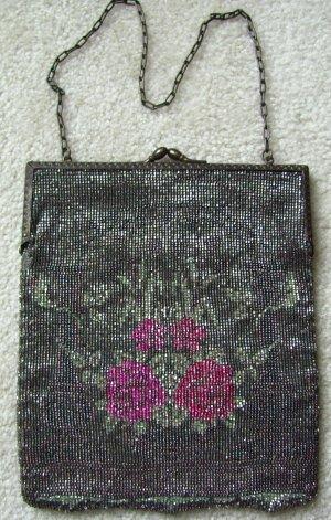 Victorian 1900s Glass Beaded Hand Bag Purse