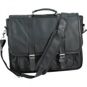 Black Solid Genuine Leather Attaché Case