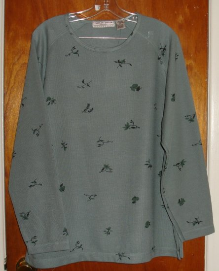 NWT Carolyn Taylor Women's Olive flowered blouse size XL 18