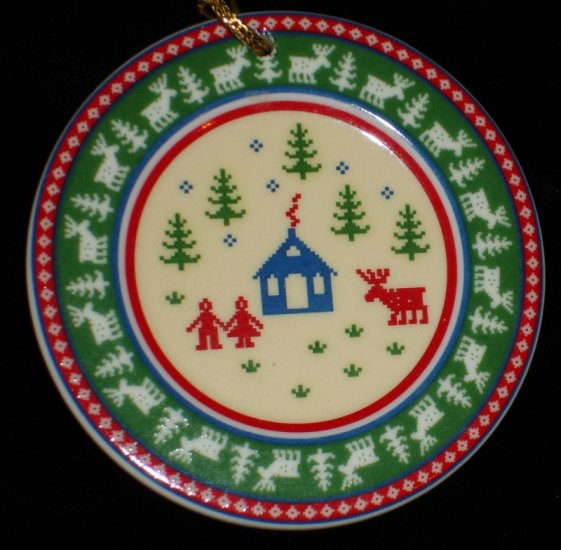 Wedgwood Ornament 5 color - yellow green red blue white - in box