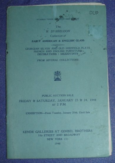 Kende Galleries American & English Glass auction catalog - 1948