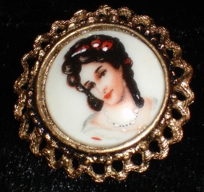 Limoges Earrings with Portrait of a Lady Wearing Pearls  Clip on    non-pierced jewelry