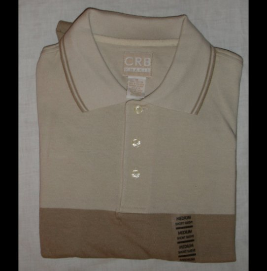Men's Beige and Tan Collared Short Sleeve Cotton Shirt size M   NEW by CRB Khakis