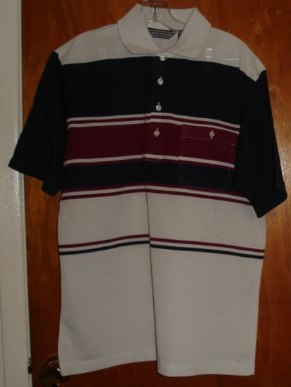Tan, Navy and Burgandy Short Sleeve Men's shirt   size M medium   by David Taylor