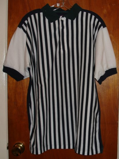 Men's Short Sleeve Shirt blue white and green stripe size M medium   by M.E. Sport