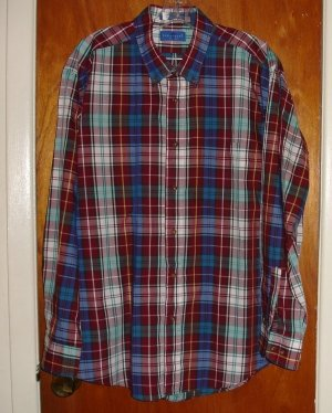 Towncraft Men's Burgandy Maroon Plaid Shirt size XL 17 - 17.5 neck