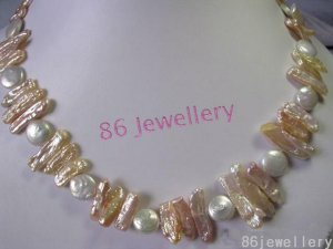 Natural biwa &coin pearls necklace ID 0805-4