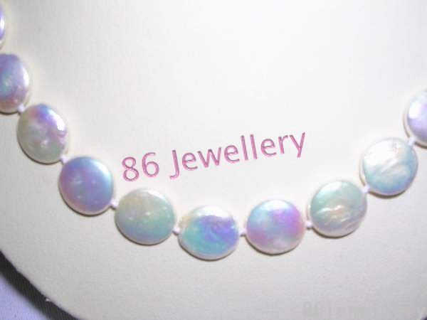natural Fresh Water coin  pearl necklace-white ID0805-5