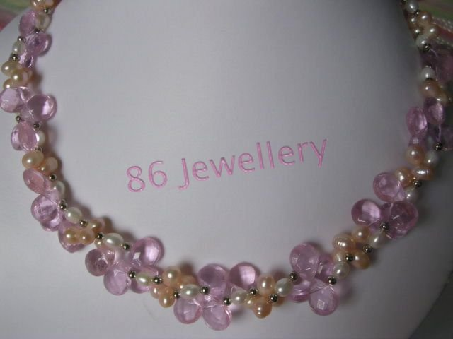 nature  Bridal Jewellery Pink Crystal &  Pearl Necklace ID 0805-6