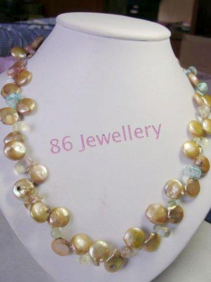 crystal& filemot pearls necklace    ID 0805-7