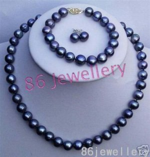 A set 9MM black  pearl necklace & earring mateh bracelet ID 0805-8