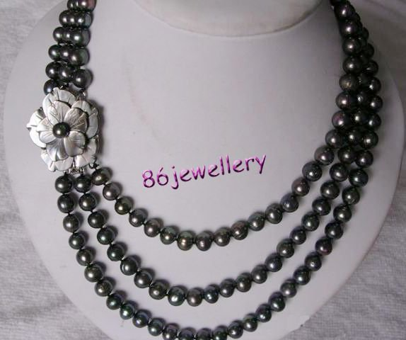 ature black  pearl necklace & flower clasp  ID0805-9