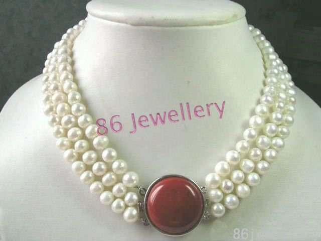3-strand nature fresh water white pearls necklace ID0805-10
