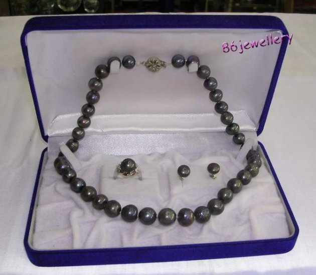 A set 10MM black  pearl necklace & earring &ring ID 0805-11