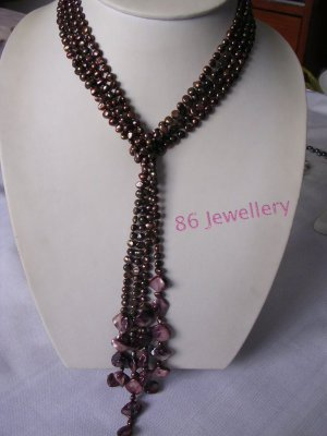 Natural 2-strands fresh water rare brown color pearl necklace ID 0805-17