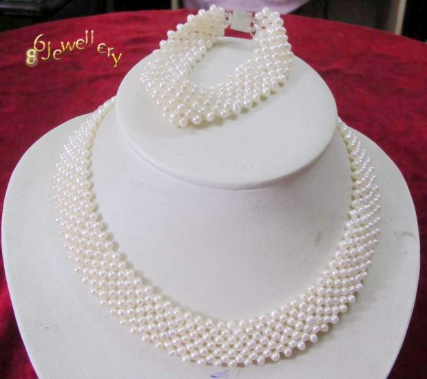 handcraft A set 4-8MM nature white fw pearl necklace & bracelet ID 0805-16