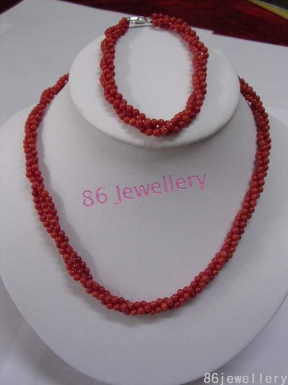 a set natural red coral necklace & pendants ID 0805-18