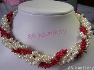 nuptial jewellery Nature 3-strands pearl&coral necklace ID0805-20