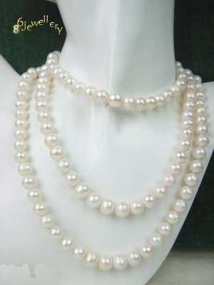 "Junoesque 36"" natuarl freshwater white necklace ID 0805-21"