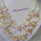 handcraft nature biwa & coin fresh water pearl necklace ID0805-26