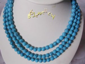 tibet 3-strands 8MM nature turquoise necklace ID0805-27