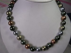 Consummate 12MM 5-color TAHITIAN shell pearl necklace   ID 0805-30