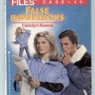 Nancy Drew Files Case 43 FALSE IMPRESSIONS Carolyn Keene PB Printing