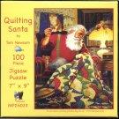 SunsOut QUILTING SANTA 100 pc New Mini Jigsaw Puzzle Tom Newsom Quilt