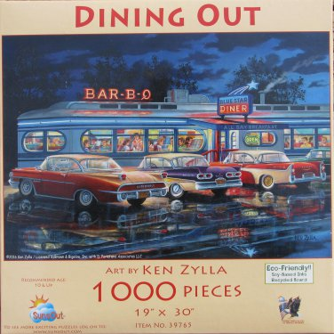 SunsOut Ken Zylla DINING OUT 1000 pc Panorama Jigsaw Puzzle