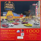 SunsOut Ken Zylla CRUISE NIGHT AT GLITTER GULCH 1000 pc Panorama Jigsaw Puzzle