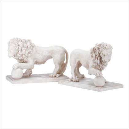 Pair of Lions Yard Sculptures