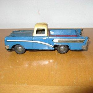 Ranchero or El Camino Tin Metal Friction Motor Toy Pickup Truck Car made by Haji in Japan