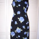 Black summer dress with blue roses