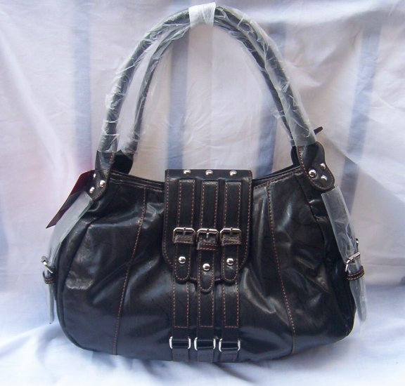 Soft Large Designer Black Front Buckle Handbag