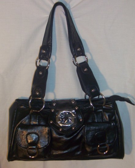 "TWIN FRONT POCKET ""G' SOFT BLACK WOMENS HANDBAG"