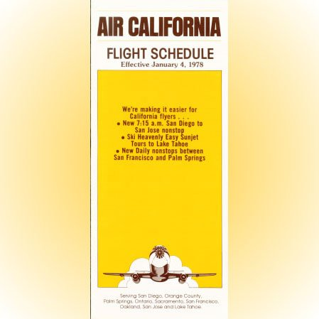 Air California system timetable 1/4/78 ($)