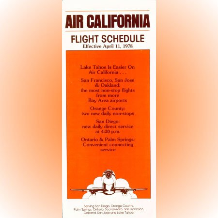 Air California system timetable 4/11/78 ($)