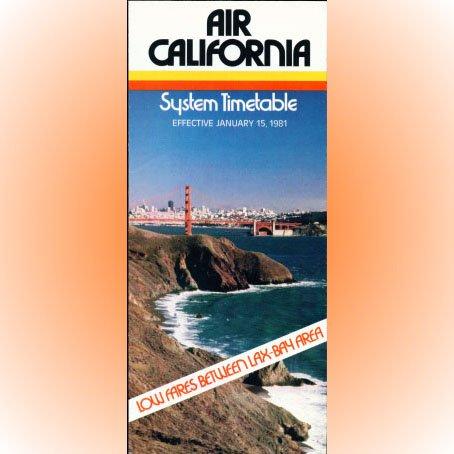 Air California system timetable 1/15/81 ($)