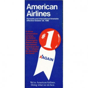American Airlines system timetable 10/26/80 ($)