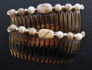 Picture Jasper Gemstone Hair Jewelry Pair - UnusualJewels