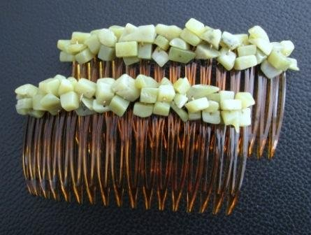 NEW Olive Jade Gemstone Hair Jewelry Combs from UnusualJewels