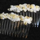 Citrine Nugget Hair Jewelry Combs Pair (Compact)
