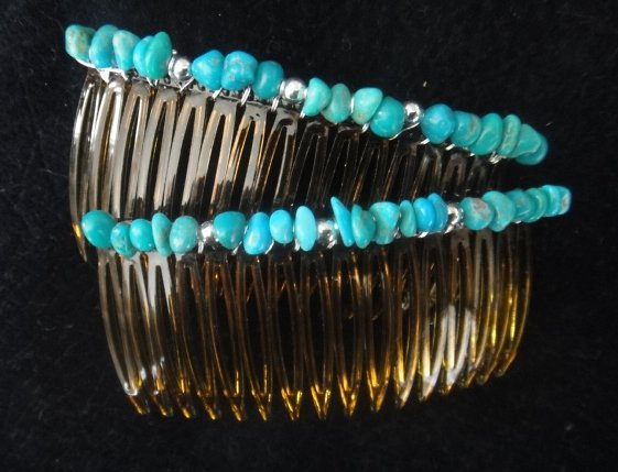 UnusualJewels * Kingman Turquoise Hair Jewelry Combs Pair