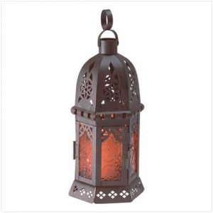 Amber Glass Moroccan-Style Lantern