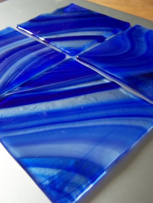 Lake Bluff: Fused glass coasters set of 4 by SunriseGlassArt