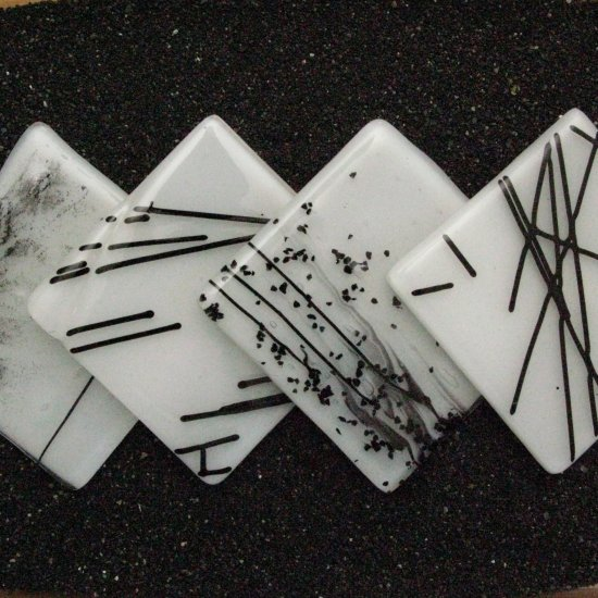 Custom order option: Black and White: Fused glass coasters set of 4 by SunriseGlassArt