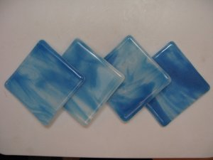 Sky: Fused glass coasters set of 4 by SunriseGlassArt