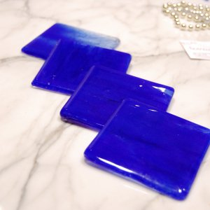 Lakeshore: Fused glass coasters set of 4 by SunriseGlassArt