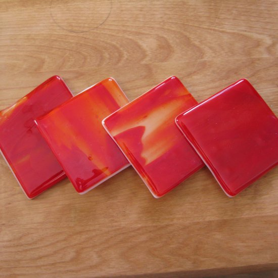 Fire: Fused glass coasters set of 4 by SunriseGlassArt